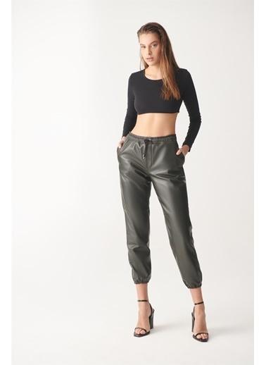 Black Noble Aıda Yeşil Spor Deri Pantolon Yeşil